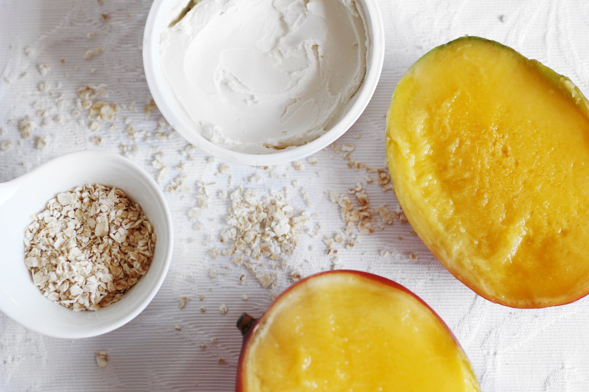 gesichtsmaske- vegan --veganes gesichtspeeling-gesichtsmaske- selbermachen - peeling- mango