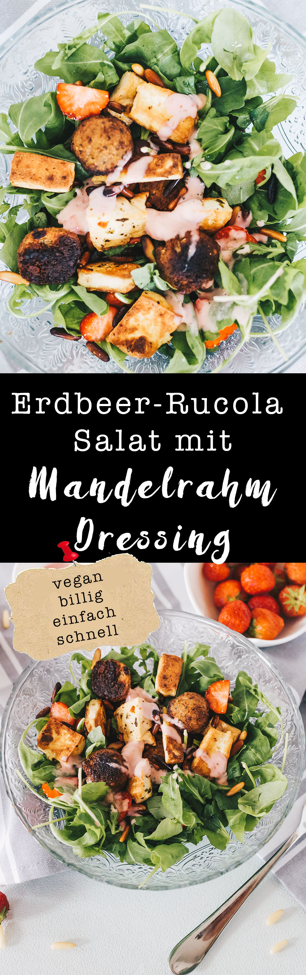 erdbeer rucola salat mit veganem mandelrahm dressing. Black Bedroom Furniture Sets. Home Design Ideas